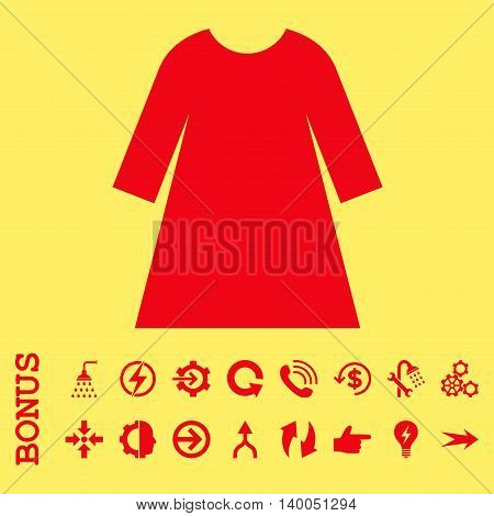 Woman Dress vector icon. Image style is a flat pictogram symbol, red color, yellow background.
