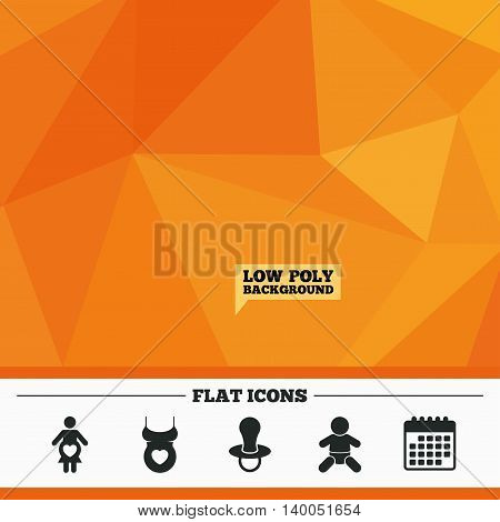 Triangular low poly orange background. Maternity icons. Baby infant, pregnancy and dummy signs. Child pacifier symbols. Shirt with heart. Calendar flat icon. Vector