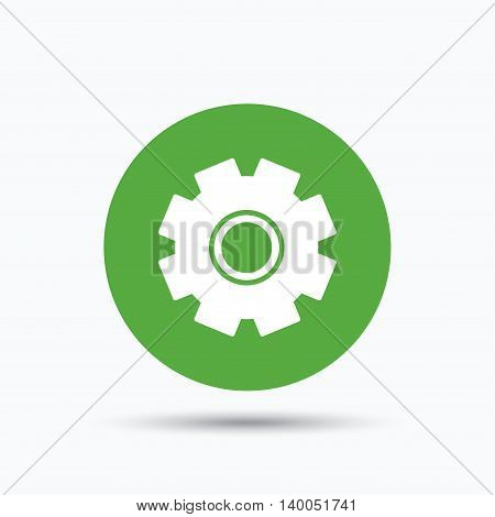 Cogwheel icon. Repair service symbol. Flat web button with icon on white background. Green round pressbutton with shadow. Vector