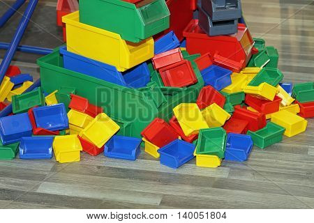 Big Bunch of Colour Plastic Trays and Bins