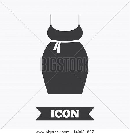 Pregnant woman dress sign icon. Maternity clothing symbol Graphic design element. Flat maternity dress symbol on white background. Vector