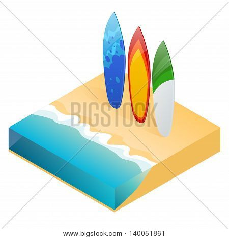 Vector modern colorful surfboard. Holiday surfboards on the ocean beach. Flat 3d vector isometric illustration