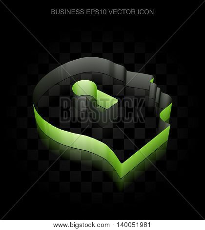 Finance icon: Green 3d Head With Keyhole made of paper tape on black background, transparent shadow, EPS 10 vector illustration.