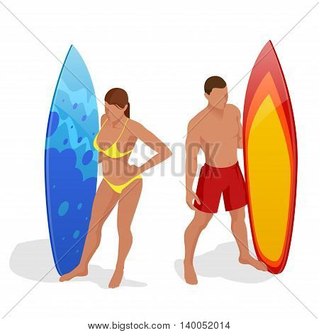 Man and woman are standing with a surfboard in his hands. Flat 3d vector isometric illustration. Extreme water sports.