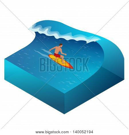 Surfer on Blue Ocean Wave in the Tube Getting Barreled. Flat 3d vector isometric illustration