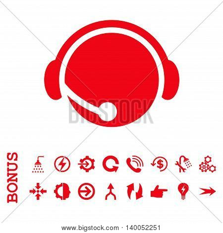 Call Center Operator vector icon. Image style is a flat iconic symbol, red color, white background.