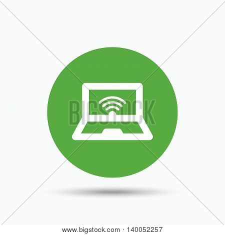 Computer with wifi icon. Notebook or laptop pc symbol. Flat web button with icon on white background. Green round pressbutton with shadow. Vector