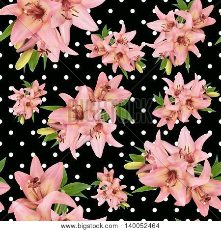 seamless floral pattern with pink lily flower on black background