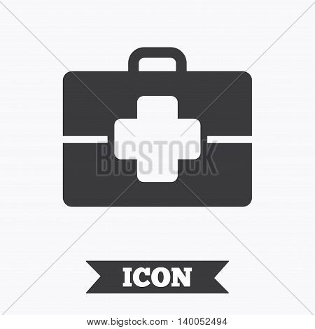 Medical case sign icon. Doctor symbol. Graphic design element. Flat medical case symbol on white background. Vector