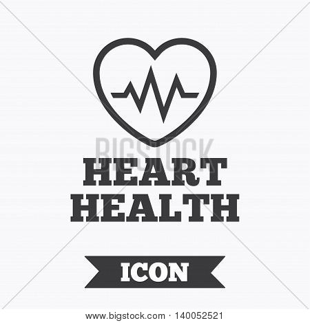 Heartbeat sign icon. Heart health cardiogram check symbol. Graphic design element. Flat heartbeat symbol on white background. Vector