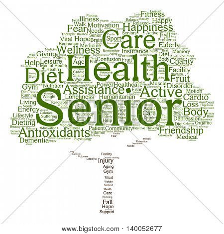 Concept conceptual old senior health, care or elderly people abstract tree word cloud isolated on background