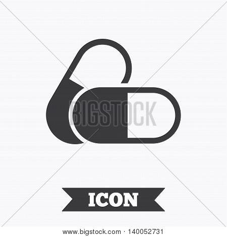 Medical pills sign icon. Pharmacy medicine drugs symbol. Graphic design element. Flat medical pills symbol on white background. Vector