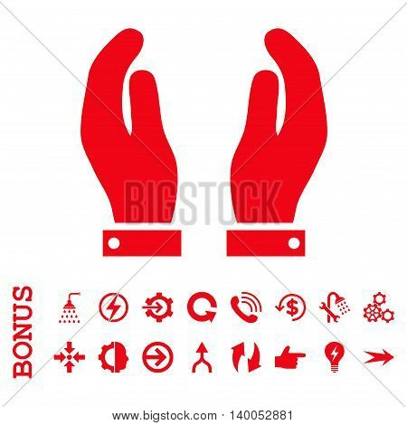 Care Hands vector icon. Image style is a flat iconic symbol, red color, white background.