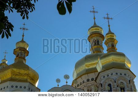 Golden tops and crosses of Christian Orthodox Abbey