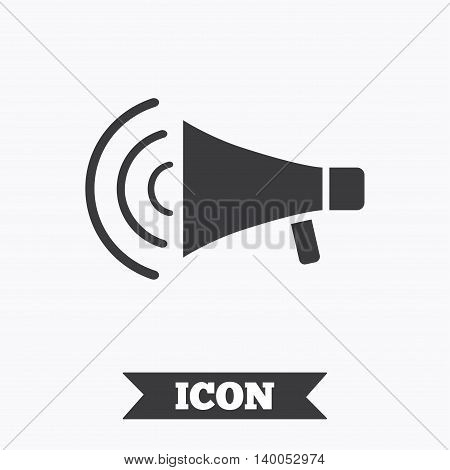 Megaphone sign icon. Loudspeaker strike symbol. Graphic design element. Flat megaphone symbol on white background. Vector