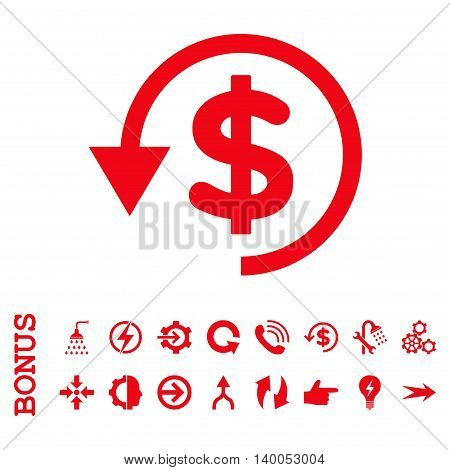 Chargeback vector icon. Image style is a flat iconic symbol, red color, white background.