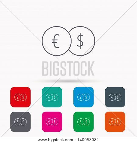 Currency exchange icon. Banking transfer sign. Euro to Dollar symbol. Linear icons in squares on white background. Flat web symbols. Vector