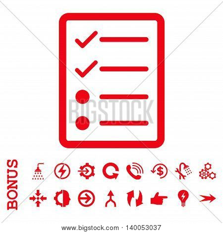 Checklist Page vector icon. Image style is a flat iconic symbol, red color, white background.