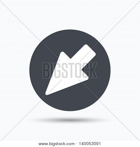 Cursor icon. Computer position marker symbol. Flat web button with icon on white background. Gray round pressbutton with shadow. Vector