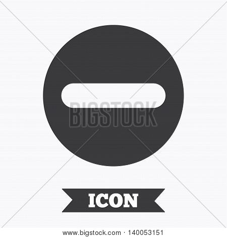 Minus sign icon. Negative symbol. Zoom out. Graphic design element. Flat minus symbol on white background. Vector