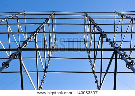 Scene or stage frame on a background of pure blue sky