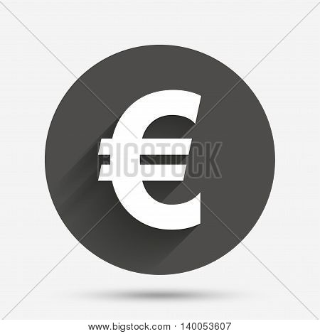 Euro sign icon. EUR currency symbol. Money label. Circle flat button with shadow. Vector