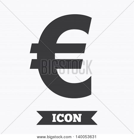 Euro sign icon. EUR currency symbol. Money label. Graphic design element. Flat money euro symbol on white background. Vector