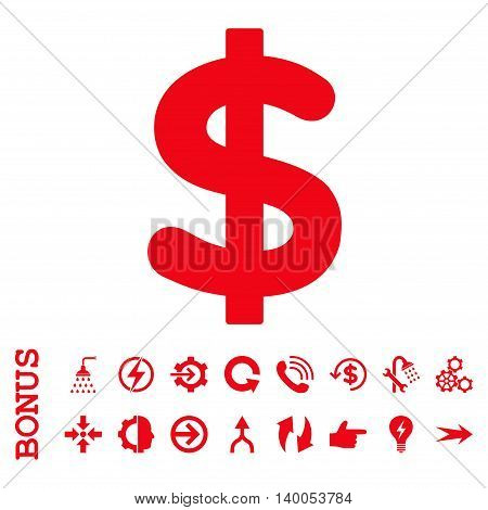 Dollar vector icon. Image style is a flat pictogram symbol, red color, white background.