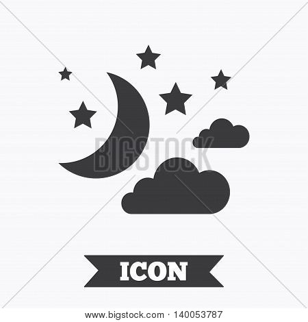 Moon, clouds and stars icon. Sleep dreams symbol. Night or bed time sign. Graphic design element. Flat moon symbol on white background. Vector