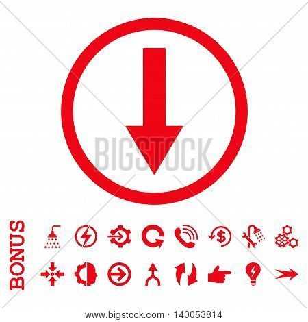 Down Rounded Arrow vector icon. Image style is a flat iconic symbol, red color, white background.