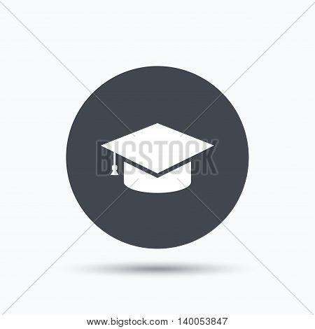 Education icon. Graduation cap symbol. Flat web button with icon on white background. Gray round pressbutton with shadow. Vector
