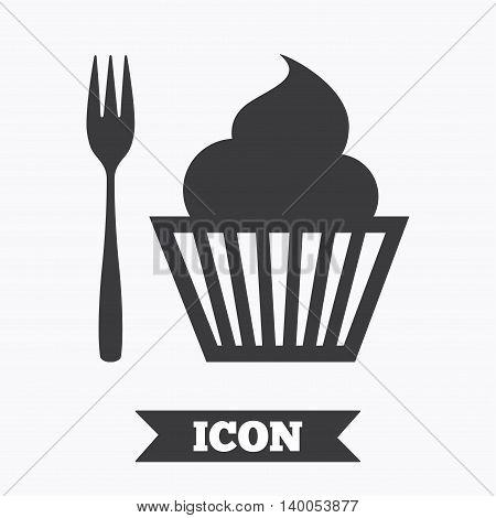 Eat sign icon. Dessert trident fork with muffin. Cutlery symbol. Graphic design element. Flat dessert symbol on white background. Vector