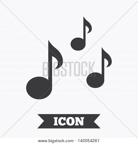 Music notes sign icon. Musical symbol. Graphic design element. Flat music symbol on white background. Vector
