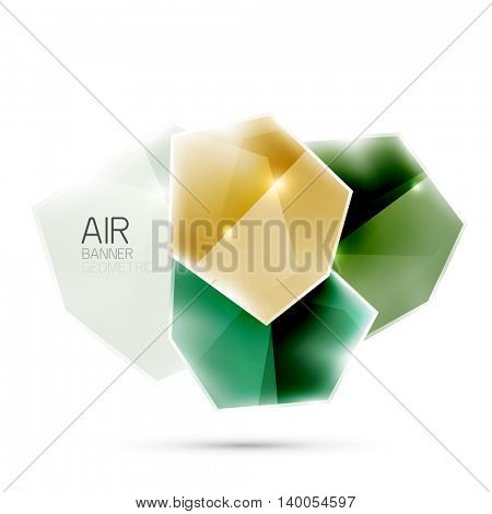 Abstract shiny colorful geometric composition flying on white background