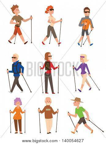 Nordic walking sport vector people