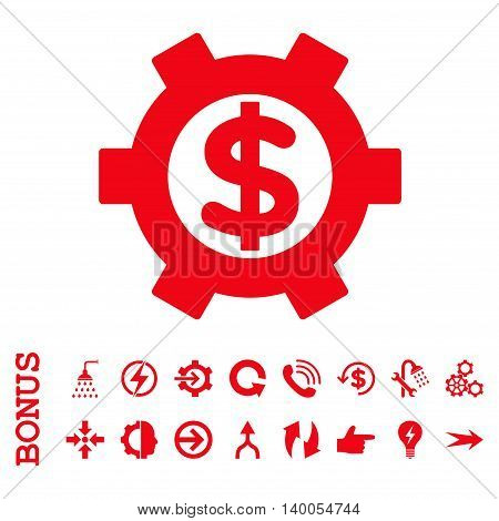 Financial Settings vector icon. Image style is a flat iconic symbol, red color, white background.