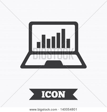 Laptop sign icon. Notebook pc with graph symbol. Monitoring. Graphic design element. Flat laptop symbol on white background. Vector