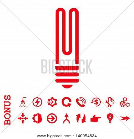 Fluorescent Bulb vector icon. Image style is a flat pictogram symbol, red color, white background.