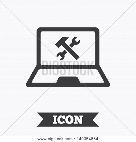Laptop repair sign icon. Notebook fix service symbol. Graphic design element. Flat laptop symbol on white background. Vector