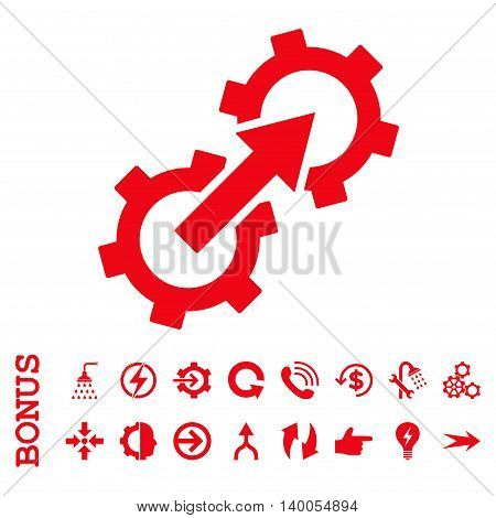 Gear Integration vector icon. Image style is a flat iconic symbol, red color, white background.