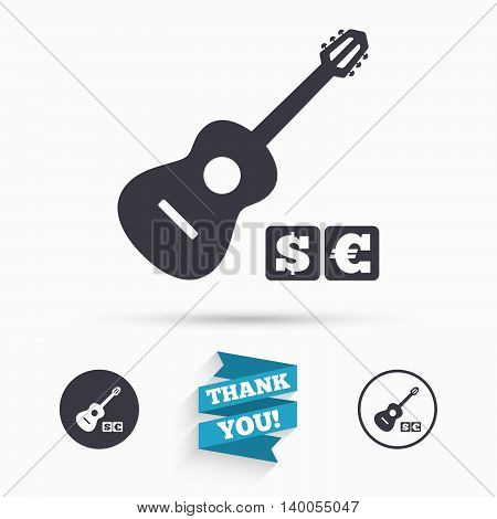 Acoustic guitar sign icon. Paid music symbol. Flat icons. Buttons with icons. Thank you ribbon. Vector