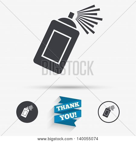 Graffiti spray can sign icon. Aerosol paint symbol. Flat icons. Buttons with icons. Thank you ribbon. Vector