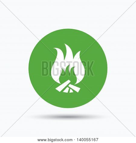 Fire icon. Blazing bonfire flame symbol. Flat web button with icon on white background. Green round pressbutton with shadow. Vector