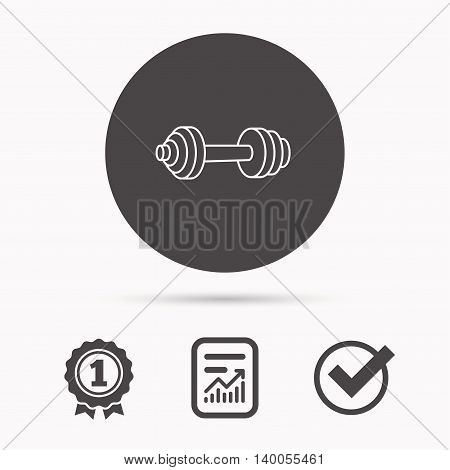 Dumbbell icon. Fitness sport or gym sign. Bodybuilding workout equipment symbol. Report document, winner award and tick. Round circle button with icon. Vector