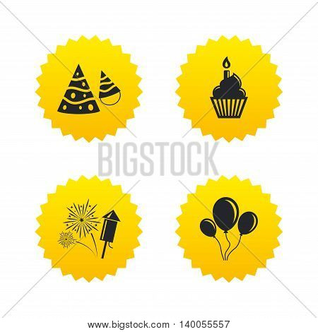Birthday party icons. Cake, balloon, hat and muffin signs. Fireworks with rocket symbol. Cupcake with candle. Yellow stars labels with flat icons. Vector