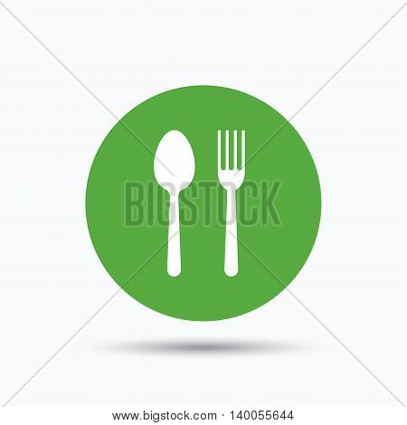 Food icons. Fork and spoon signs. Cutlery symbol. Flat web button with icon on white background. Green round pressbutton with shadow. Vector