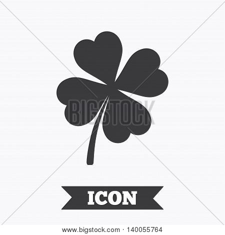 Clover with four leaves sign icon. Saint Patrick symbol. Graphic design element. Flat clover symbol on white background. Vector