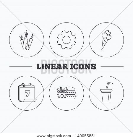Hamburger, carrot and soft drink icons. Ice cream linear sign. Flat cogwheel and calendar symbols. Linear icons in circle buttons. Vector