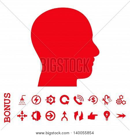 Head Profile vector icon. Image style is a flat pictogram symbol, red color, white background.