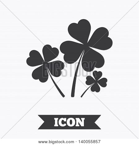 Clovers with four leaves sign icon. Saint Patrick symbol. Graphic design element. Flat clovers symbol on white background. Vector